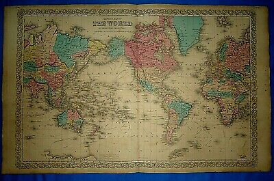Vintage 1857 MAP ~ THE WORLD ~ Old Antique Original Colton's Atlas Map