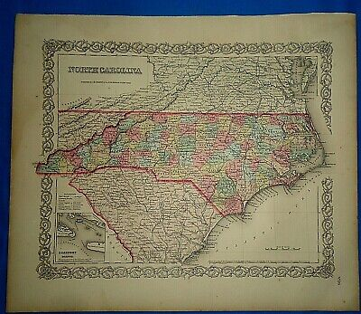 Vintage 1857 MAP ~ NORTH CAROLINA ~ Old Antique Original Colton's Atlas Map