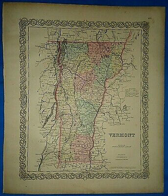 Vintage 1857 MAP ~ VERMONT ~ Old Antique Original Colton's Atlas Map