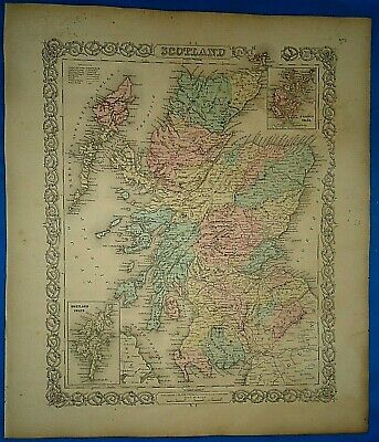 Vintage 1857 MAP ~ SCOTLAND ~ Old Antique Original Colton's Atlas Map