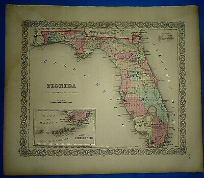 Vintage 1857 MAP ~ FLORIDA ~ Old Antique Original Colton's Atlas Map