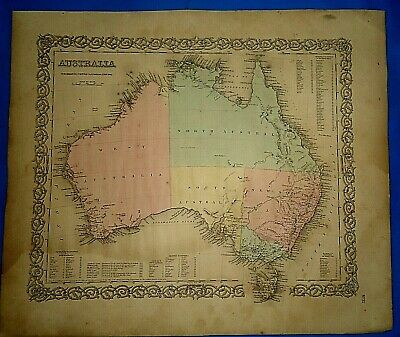 Vintage 1857 MAP ~ AUSTRALIA ~ Old Antique Original Colton's Atlas Map