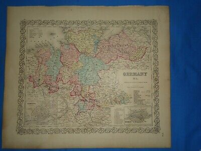 Vintage 1857 MAP ~ GERMANY #1 ~ Old Antique Original Colton's Atlas Map