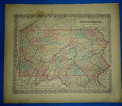 Vintage 1857 MAP ~ PENNSYLVANIA ~ Old Antique Original Colton's Atlas
