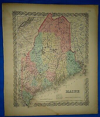 Vintage 1857 MAP ~ MAINE ~ Old Antique Original Colton's Atlas Map