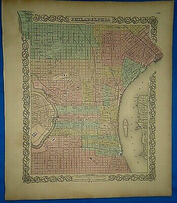 Vintage 1857 MAP PHILADELPHIA, PENNSYLVANIA Old Antique Original Colton's Atlas