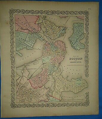 Vintage 1857 MAP ~ BOSTON, MASSACHUSETTS Old Antique Original Colton's Atlas Map