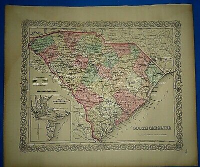 Vintage 1857 MAP SOUTH CAROLINA CHARLESTON ~ Old Antique Original Colton's Atlas