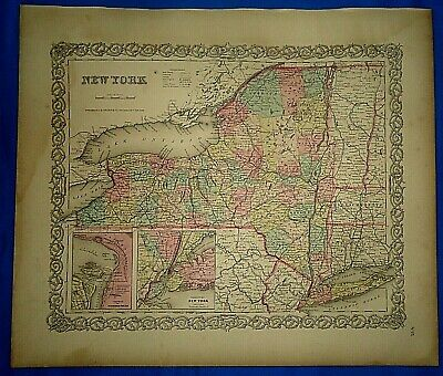 Vintage 1857 MAP ~ NEW YORK STATE ~ Old Antique Original Colton's Atlas Map