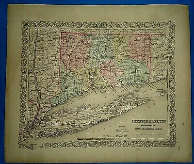 Vintage 1857 MAP ~ CONNECTICUT ~ Old Antique Original Colton's Atlas Map