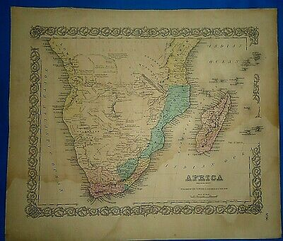Vintage 1857 MAP ~ SOUTHERN AFRICA ~ Old Antique Original Colton's Atlas Map