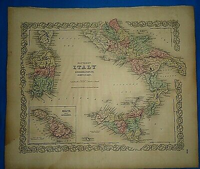 Vintage 1857 MAP ~ SOUTHERN ITALY ~ Old Antique Original Colton's Atlas Map