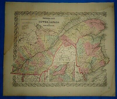 Vintage 1857 MAP ~ CANADA EAST / LOWER ~ Old Antique Original Colton's Atlas Map