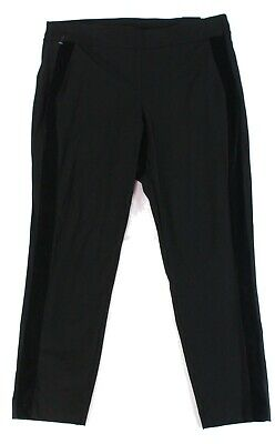 Alfani Women's Black Size 20W Plus Velvet Striped Skinny Pants Stretch $69 #021