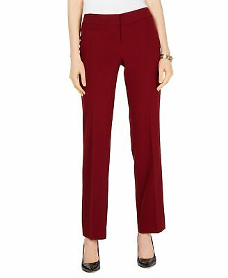 Nine West Womens Red Size 10 Straight Leg Front Tab Dress Pants Stretch $79 #246