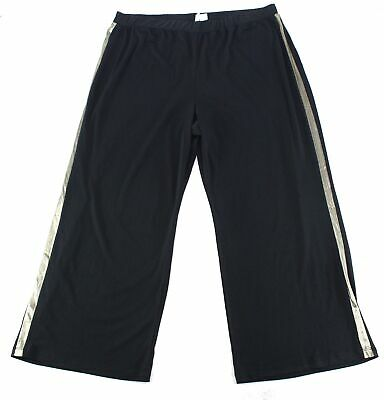 NY Collection Womens Pants Black Size 2X Plus Gold Trim Pull On Stretch $54 #271