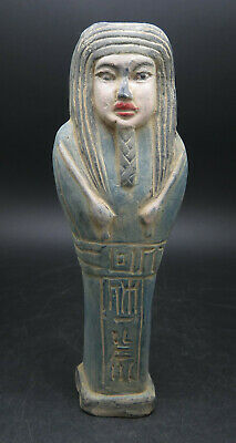 Ancient Terracotta Faience Egyptian Hieroglyphics Shabti Statue