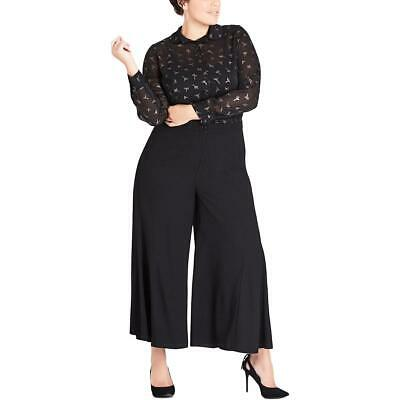 City Chic Womens Black Cropped Wide Leg Pants Trousers Plus 16 BHFO 8951