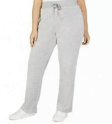 Calvin Klein Women's Gray Size 1X Plus Velour Wide Leg Pants Stretch $79 #464