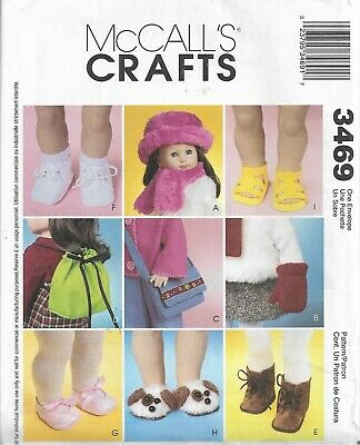 "18/"" Doll clothes accessories bucket hat scarf PATTERN M3469 sandles boots shoes"