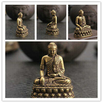 1PC Pure Brass Handwork Carved Sakyamuni Buddha Small Statue Collection