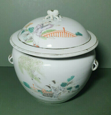 Antique Chinese Porcelain Pot with Lid - Hand Painted - Wax Seal -19th c.