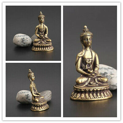 1 PC China Collection Handwork carving Pure brass Sakyamuni Buddha small statue