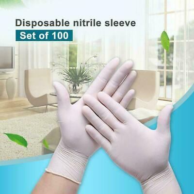 100Pcs Rubber Comfortable Disposable Mechanic Nitrile Gloves White Exam S/M/L