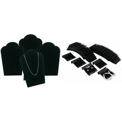 Black Velvet Necklace Easel Jewelry Display & Hanging Earring Cards Kit 104 Pcs