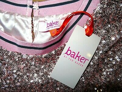 BNWT Gorgeous TED BAKER Older Girl's Rose Gold Sequinned Lined Top age 14yrs