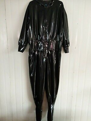 Latex Rubber Catsuit Black Cosplay Sexy Sport Loose Bodysuit S-XXL 0.4mm