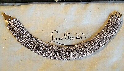 Gorgeous Sparkling Art Deco Clear Rhinestone Gold Cocktail Bracelet Jewellery