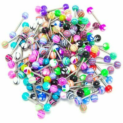 10 X Tongue Bars Surgical Steel Barbell Rings Mixed Ball Bar Piercing Jewellery