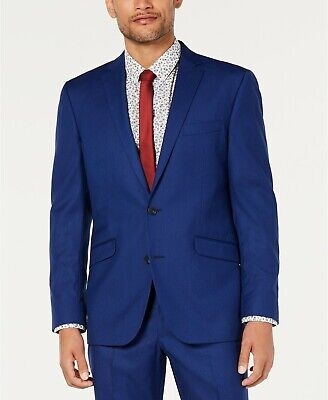 $300 Kenneth Cole Unlisted Men's Solid Stretch Slim-Fit Suit Jacket 42S Blue