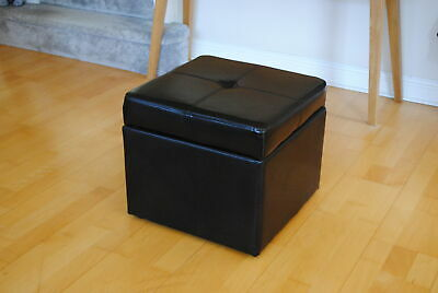 Dark Brown Genuine Full Leather Storage Footstool Pouffe **Seconds** R9