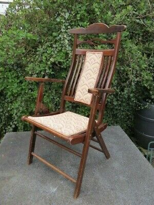 Antique Folding Mahogany Campaign Chair