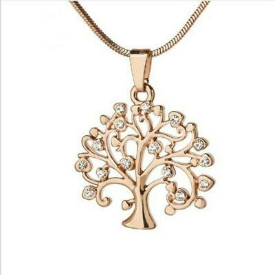 Womens Gold Tree of Life Crystal CZ Cubic Zirconia Pendant Necklace Jewelry