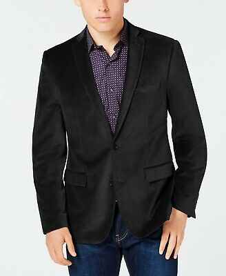 Bar III Men's Velvet Slim-Fit 2 Button Sport Coat Blazer Black 40S NEW $350