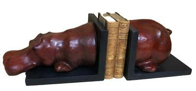 Handmade Leather Bookends in the form of a Hippo - 55cm Long