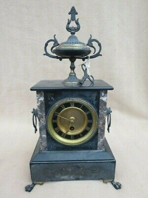 Small Antique French Slate And Marble Mantel Clock For Repair
