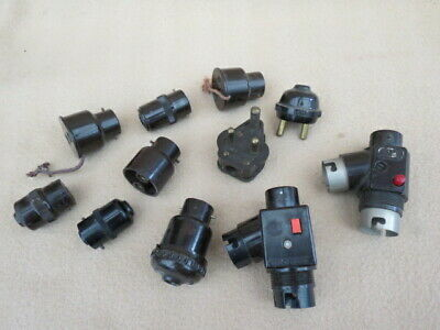 Collection Of Antique Vintage Bakelite Pin Plugs, Sockets, Etc