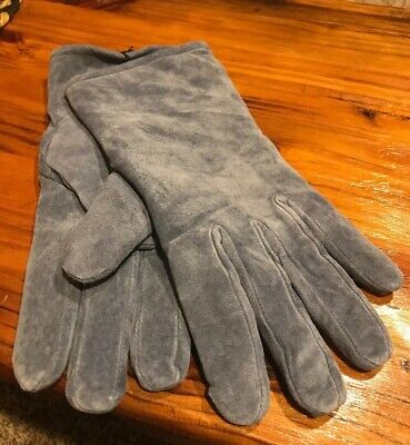 Vintage Aris 115 Isotoner Ladies M Women Blue Suede Leather Driving Gloves New