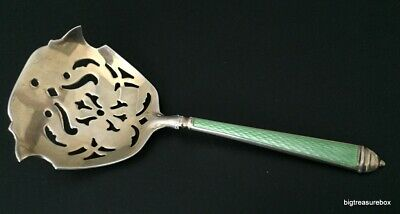 Vtg ANTIQUE STERLING SILVER 925 Guilloche Enamel Bon Bon Nut Spoon Watson Co