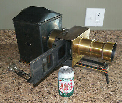Jamin Darlot Lens BRASS CRANK MECHANISM w/internal slide changer! MAGIC LANTERN