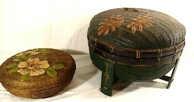 Antique Victorian Hand Woven Sewing Footed Baskets With Painted Flower Lids Vtg