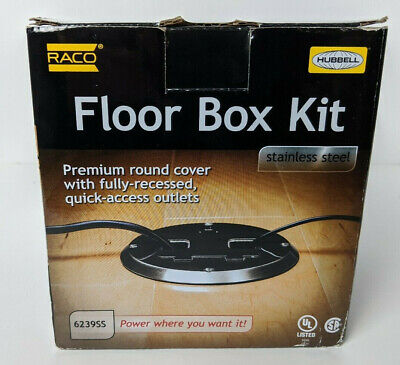 Hubbell Raco Stainless Steel Floor Box Kit Concealed Receptacle 6239SS
