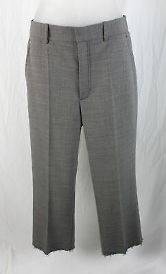Helmut Lang Women's Black Gray Print Straight Fit Fringed Cuff Pant Size 2