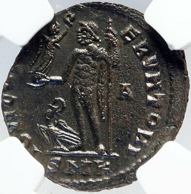 LICINIUS I Authentic Ancient 313AD Cyzicus Roman Coin JUPITER EAGLE NGC i82899