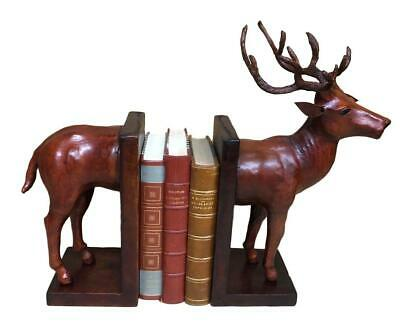 Handmade Leather Bookends in the form of a Stag - 37cm High