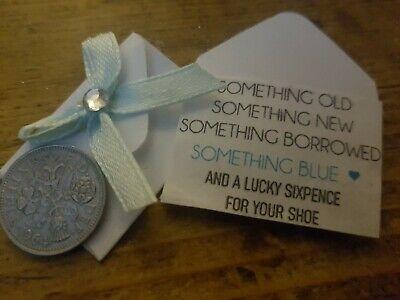 Lucky Sixpence Charm Coin Gift Bride/'s Wedding Shoe Something Blue Personalised